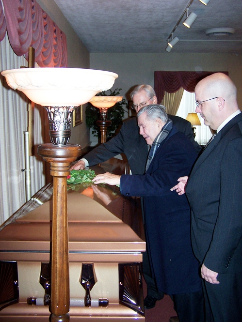 Paul Nelson Sr. at his sister Barbara Rose O'Connell's coffin, Feb 13, 2007